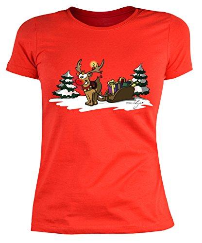 Damen T-Shirt mit Weihnachts-Motiv: Rudoph the rednosed... - Lustige Geschenkidee - Weihnachtsgeschenk - Sexy Girly Shirt - By Gali - Farbe: (Shirts T Weihnachten Designs)
