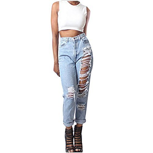 Gillberry Pants Gillberry Womens Ladies Celeb Stretch Ripped Skinny High Waist Denim Pants Jeans (L, Blue)