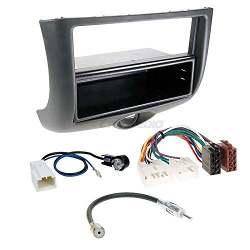 Toyota Yaris 99-03 1-Din Autoradio Einbauset in Original Plug&Play Qualität mit Antennenadapter, Radioanschlusskabel, Zubehör und Radioblende/Einbaurahmen Schwarz (Yaris Auto Radio)