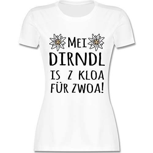 Oktoberfest Damen - MEI Dirndl is z kloa für zwoa! schwarz - S - Weiß - L191 - Tailliertes Tshirt für Damen und Frauen T-Shirt