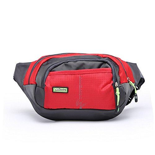 orrinsports 3-zipper in nylon resistente all' acqua sport all' aperto Marsupio per passeggiate, Trekking, Campeggio, Pesca, unisex, Red