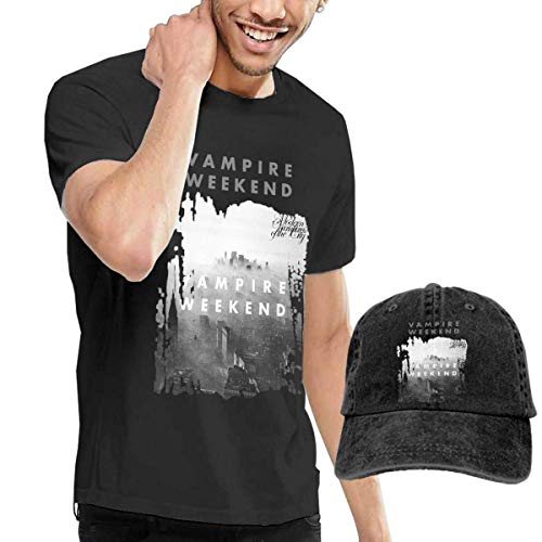 Thimd Herren T-Shirt und Kappe Schwarz, Vampire Weekend Modern Vampires of The City T Shirts and Washed Denim Baseball Dad Caps Black