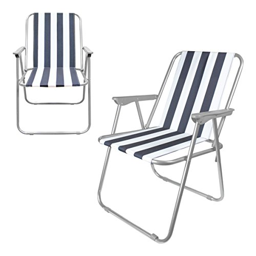 Milestone Folding Outdoor Leisure Chair Folding Beach Chair - White, 52 x 47 x 75 cm
