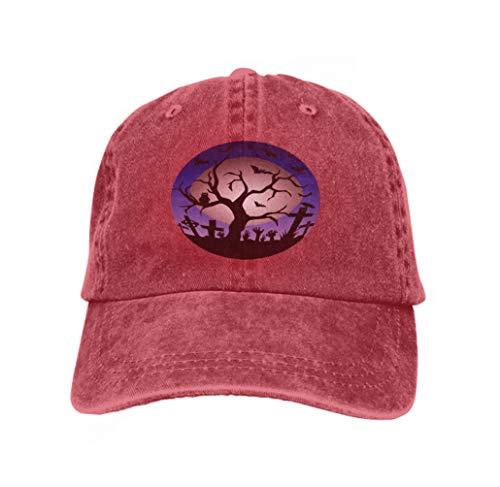 Color Hip Hop Baseball Hats Happy Halloween Tree Bats owl Gravestone Decoration Full moo red ()
