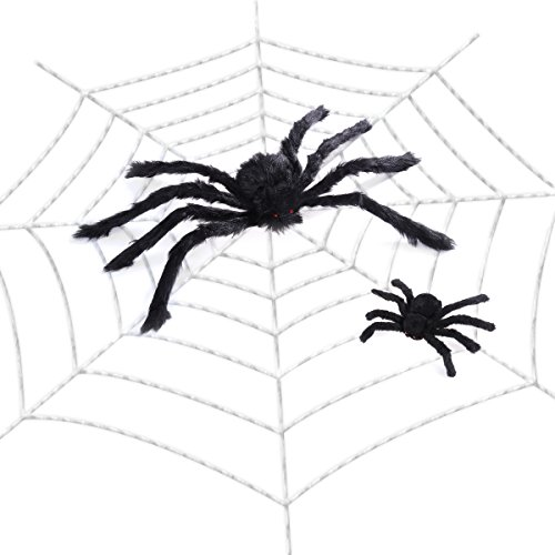 (Amosfun Riesen Spinnennetz mit Spinnen Halloween Spinnennetz Dekorationen Indoor Outdoor Spukhaus Dekor (118Zoll Spider Web + 11,8 Zoll Schwarze Spinne + 23,6 cm Schwarze Spinne))