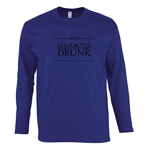 Manica lunga t-shirt da uomo con Life Is Better When You Are Drunk Funny Slogan Phrase stampa. XX-Large, Blu