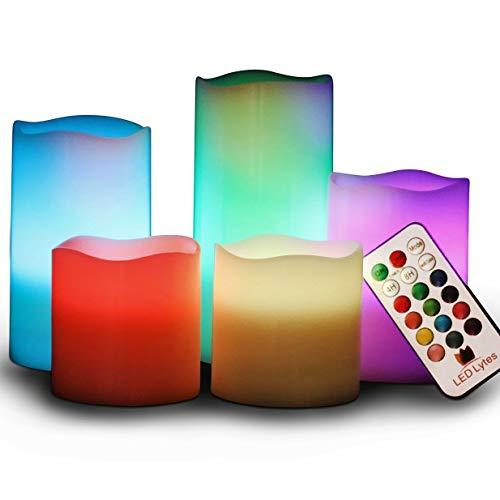 e batteriebetriebene Kerzen 5er-Set Elfenbeinwachskerze mit farbwechselnder Flamme und Fernbedienung ()