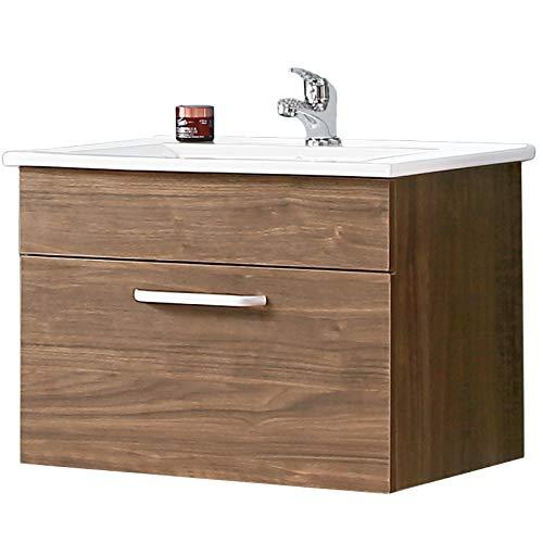 Aica Sanitär Waschtisch mit Unterschrank 60 cm Arhus 01 Hängeschrank Badmöbel Set 1× Schublade Gäste WC Walnuss