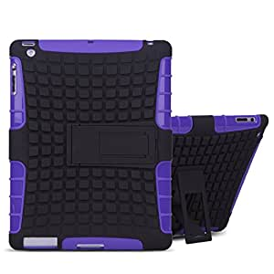 Besdata Heavy Duty Tough Shockproof with Stand Hard Case Cover For Apple iPad 2 iPad 3 ipad 4, 2nd, 3rd & 4th Generation + Free Stylus Touch Pen + Free Screen Protector + Free Cleaning Cloth - Protects the Device - UK Stock - Purple - PT7105
