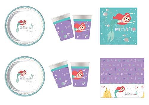 asa süße Haus Ariel Sirenetta Premium Disney COORDINDINDINDINDINDOBBI Festa - Kit Nr. 12 CDC-(24 Teller 23 cm, 24 TICCHIERI, 40 TOVAGLIOLI,1 TOVAGLIA) ()