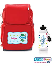 UniQBees Combo Pack - Personalised School Bag With Name (Class 3 To 6-Lil Cool Boy) & Personalised Water Bottle...
