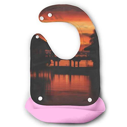 Liumiang L?tzchen Moorea Sunset Baby's Bionic Bib Buttons Silicone Bibs,Eco-Friendly Non-Toxic Adjustable Vest Extender Plain