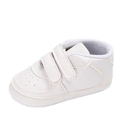 Baby Schuhe Auxma Baby Junge Mädchen Kleinkind Soft Sole Leder Schuhe Kleinkind-Schuhe Für 3-6 6-12 12-18 Monat (11cm/3-6 M, Weiß) (Weiße Leder Bow)