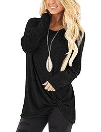 YOINS Damen Oberteil Langarm T-Shirt Pulli Rundhals Ausschnitt Hemd Sweatshirt mit Streifen Lose Asymmetrisch Jumper Bluse Tops