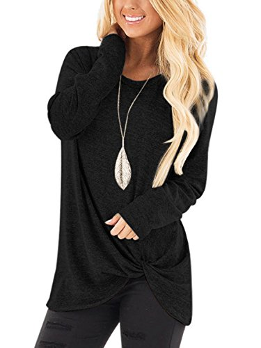 YOINS Women s Plain Round Neck Long Sleeve Loose Fit T-Shirts with Crossed  Front Design ade0b548d4c