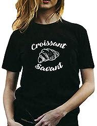 Camisetas de Mujer Camisa Manga Corta T-Shirts O-Cuello Impreso con Alfabeto inglés