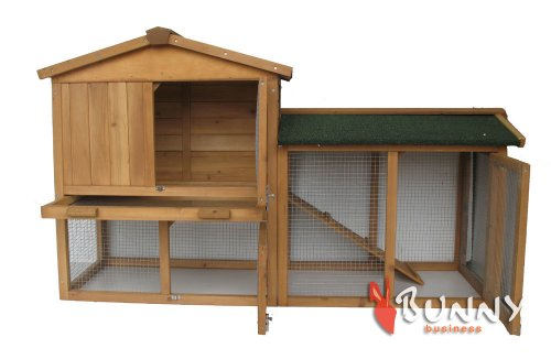 BUNNY BUSINESS The Grove Double Decker Rabbit/ Guinea Pig Hutch and Run, Brown 2