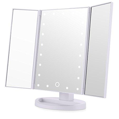 Easehold Espejo con Luz para Maquillaje Triple Plegable 21 Lámpara LED 180 Grado de Rotación Cosmético con Mostrador  Perfecto Regalo para Mujeres (Blanco)