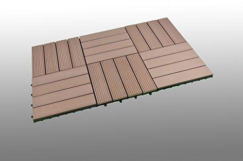 Galleria fotografica Wpc Piastrelle   Marrone   Massiccio   30 x 30 cm   SORARA   6 piastrelle a scatola, plastica e legno per giardino e terrazzo con sistema di clic