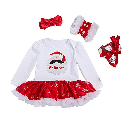 BabyPreg Baby-Kostüm, Tutu-Strampler mit Stirnband Gr. Small Für 3-6 Monate, Santa Claus (Claus Kleider Für Santa Mädchen)