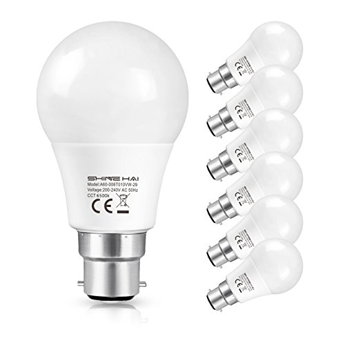 SHINE HAI B22 LED Bayonet Light Bulbs, 40W Incandescent Bulbs Equivalent, 6W LED B22 BC Bulb, A60, Cool White(6500K) Frosted Globe GLS Bulb, Ultra Bright 470Lm, Non-Dimmable, Energy Saving Light Bulbs, 6-Pack