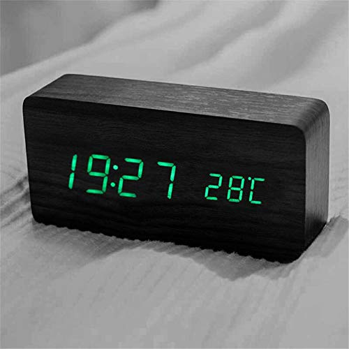 Queta LED Holz Wecker Digitalwecker Tisch Uhr Datum Temperatur Feuchtigkeit Anzeige 12/24 Stunde (Schwarz)