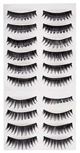 High Quality Make Up Set of 10 Pairs Black Classic Pin Up False Eyelashes / Fake Eye Lashes Set By VAGA