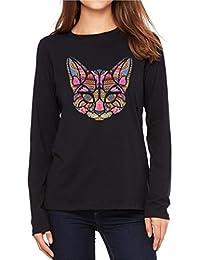 Velocitee Ladies Long Sleeve T-Shirt Colourful Ethnic Art Mosaic Cat Face W18355