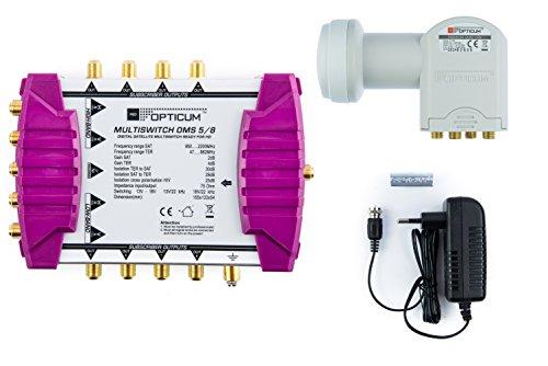 Opticum Multischalter OMS 5/8 mit Opticum Quattro LNB LRP 04 H, maximal für: 8 Teilnehmer