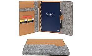 Rocketbook Smart Notebook Folio Cover - Hellbraun - Executive (A5) Größe, 100% recycelbar, biologisch abbaubar, Stifthalter, Magnetverschluss, Innenfach