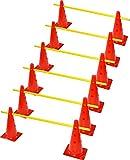 RHINOS sports Steckhürden Mini 6er-Set | 12 rote Kegel: 30cm | 6 gelbe Stangen: 60cm