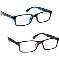 La Compañía Gafas De Lectura Azul Carey Y Púrpura Lectores Valor Pack 2 Hombres Mujeres UVR2092BL_P Dioptria +1,50