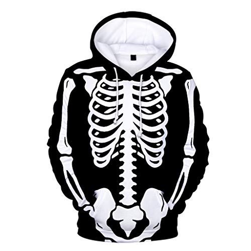 Weste & Dracula Cape Kostüm - GOKOMO Halloween Kapuzenpullover Herren blau Hoodie Herren schwarz Männer Drucken Horror Men's Hoodie Horror Halloween(Schwarz-A,Medium)