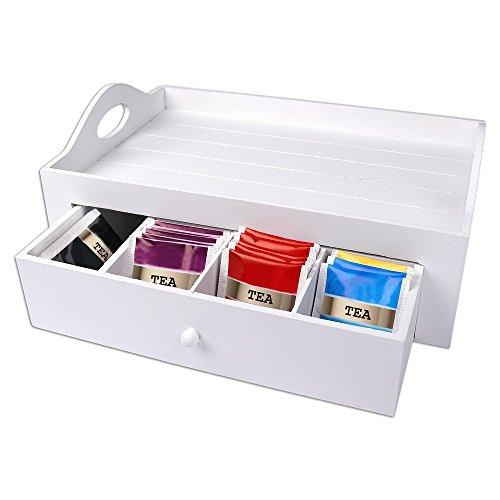 Serviertablett mit Teebox, weiß, Holz