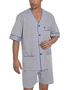 El Búho Nocturno Pijama de Caballero Corto clásico a Rayas/Ropa de Dormir para Hombre - Tela Popelín, 60% algodón...
