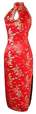 7Fairy Femmes Rouge Dos Nu Chinois Robe De mariee Longue