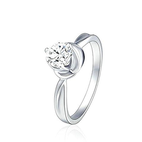 Bishiling Schmuck Damen Ring Sterling Silber 925 Blumen Rund Zirkonia Verlobungsring Eheringe Damenring Ring Weiß Größe 52 (Amethyst Hängende Uhr)