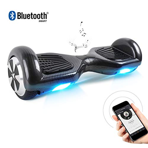 BEBK Hoverboard, 6.5 Zoll Self Balancing Scooter mit Bluetooth Lautsprecher - Tragetasche - LED Lights Elektro Scooter (Carbon)