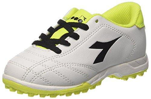 Diadora 6play tf jr, scarpe da calcio bambino, bianco (bianco nero giallo fluo), 31.5 eu