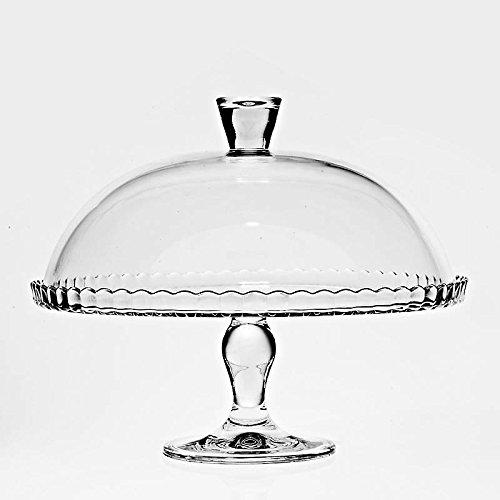 Tortenplatte auf Fuß, Tortenteller, Kuchenplatte mit Haube BIANCA transparent, Ø32cm, hochwertiges Glas, moderner zeitloser Style (GERMAN CRYSTAL by CRISTALICA)