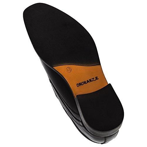Onoraze Herren Echtes Leder Schuhe in 2 Farben Slipper oder Schnürer #116sw Slipper Schwarz