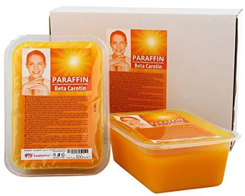 Kosmetex Paraffin-wachs Beta Carotin, Paraffinbad Wachs mit niedrigeren Schmelzpunkt, 2x 500ml