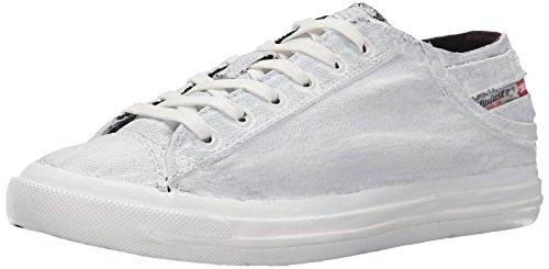 Diesel Exposure Low I Blanc Noir Canvas Hommes Baskets Chaussures