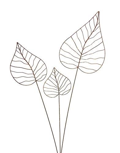 Gartenstecker Edelrost - Herzblatt-Set - Rankhilfe Gartendeko bestehend aus drei verschiedenen...