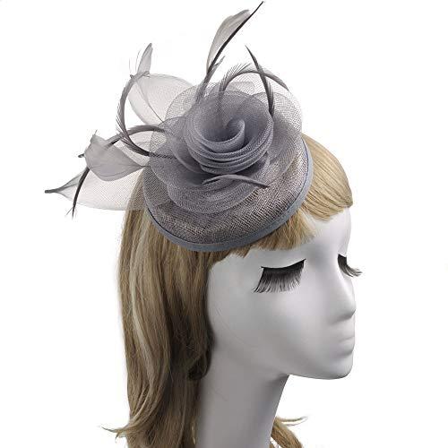 Party Tanz Tea Kostüm - KANGJIABAOBAO Mini-Tophat, Blumen Cocktail Tea Party Headwear Federhut Für Mädchen Und Damenmode Hochzeit Bereit Für Frauen Zylinder (Color : Gray, Size : Free Size)
