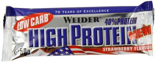 Weider Low Carb High Protein Bar, Erdbeer, 24 x 50 g -