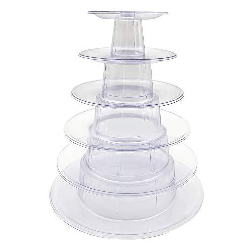 Godagoda 1pc Présentoir Porte-Patisserie Rotatif Multifonction Transparent en PVC pour Macaron à 6 Étages 23x23x26cm