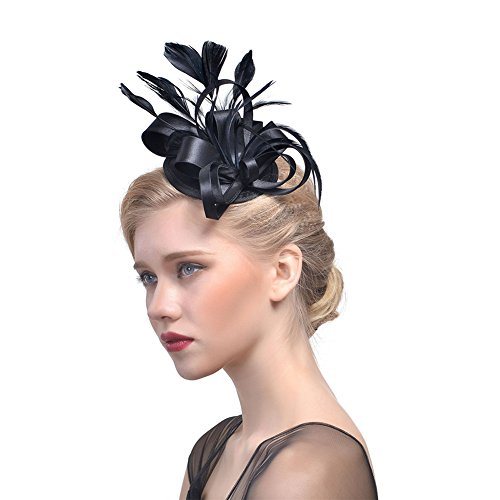 Hedoll Damen Eleganter Fascinator Hut, Federn, Haarclip, Cocktailzubehör, Royal Ascot Gr. Medium, Schwarz (Cocktail Inspiriert Kostüm)
