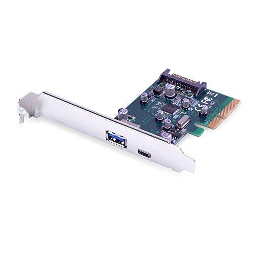 V.TOP PCI Express Tarjeta USB 3.1 Gen II (10 Gbps) Tarjeta de Expansión Dual Puerto Tipo-C y Tipo A para PC de Sobremesa