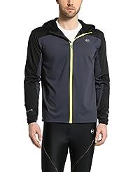 Ultrasport - Chaqueta deportiva de correr para hombre, manga larga, capa intermedia Buck, color negro, talla XL
